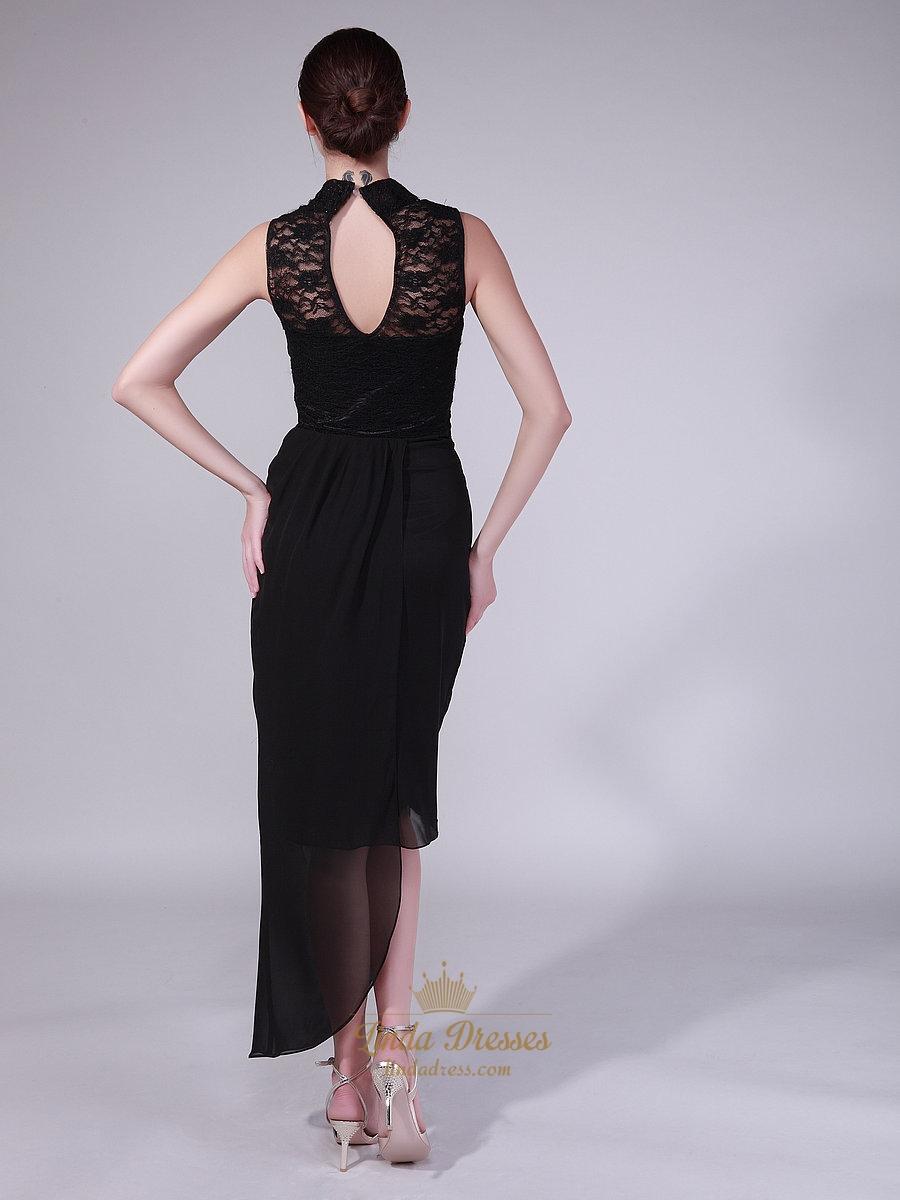 Black Sheath High Neck Lace Chiffon Skirt Prom Dress