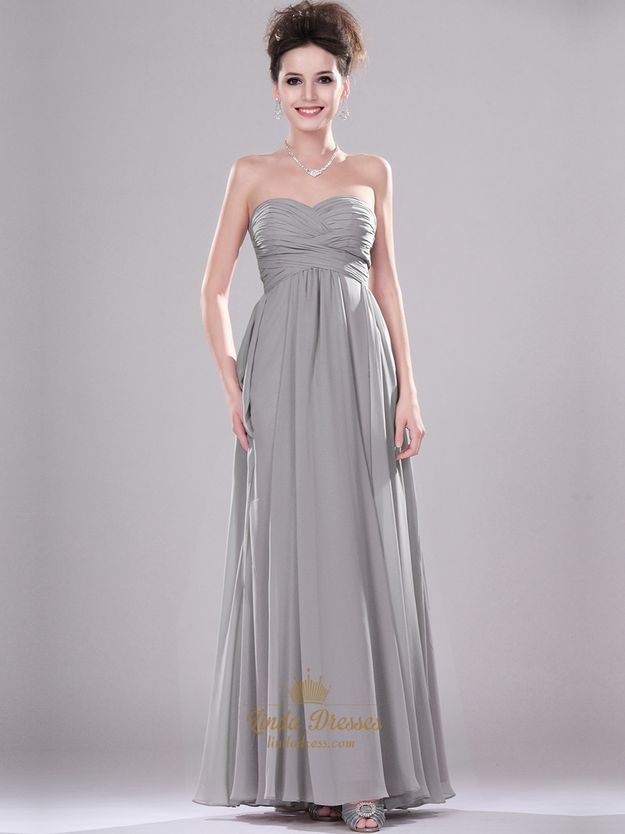 2854a35f4cd4 Grey Sweetheart Strapless Chiffon Bridesmaid Dresses With Pleated Bodice  SKU -E253