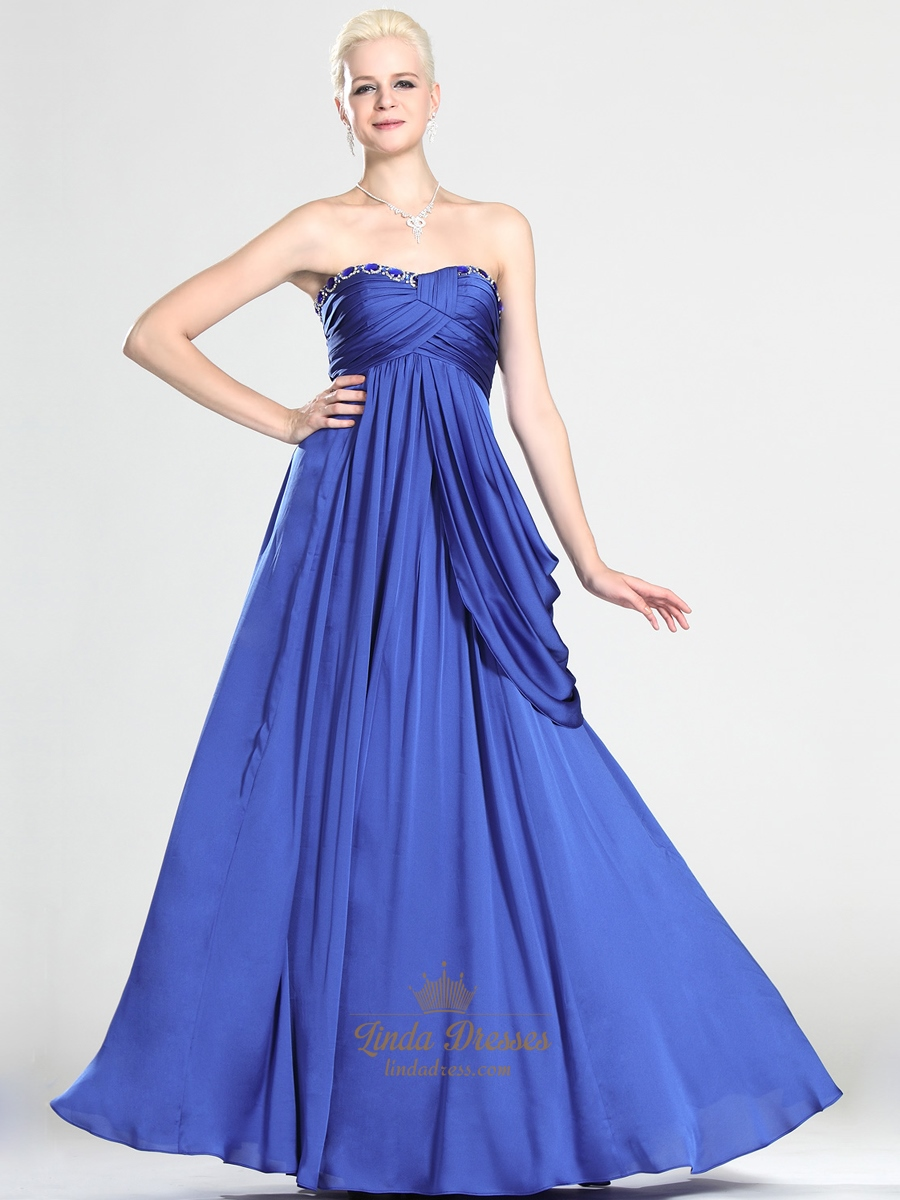 royal blue strapless chiffon prom dress with asymmetrical