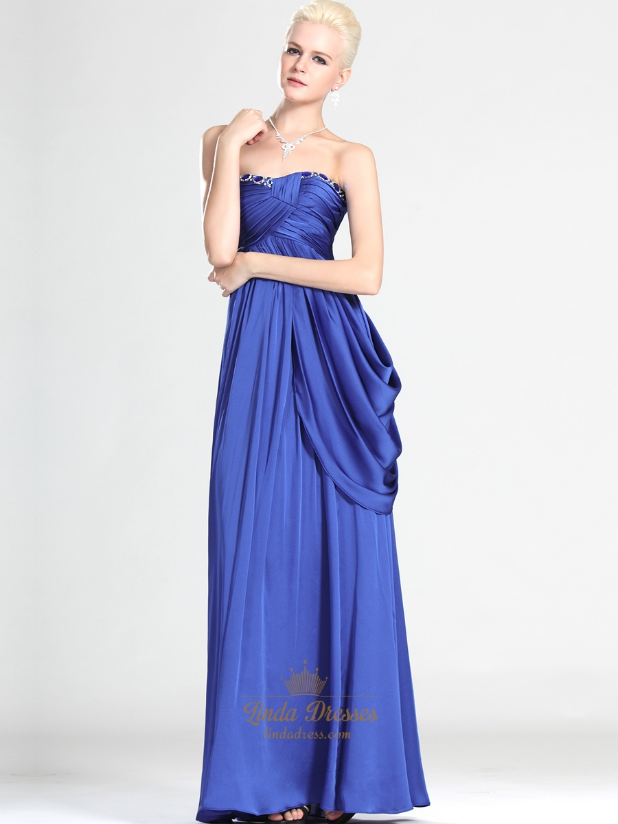 Royal Blue Strapless Chiffon Prom Dress With Asymmetrical ...