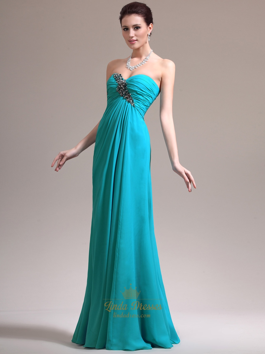 Turquoise Strapless Empire Waist Prom Dress With Ruched Bust And ...