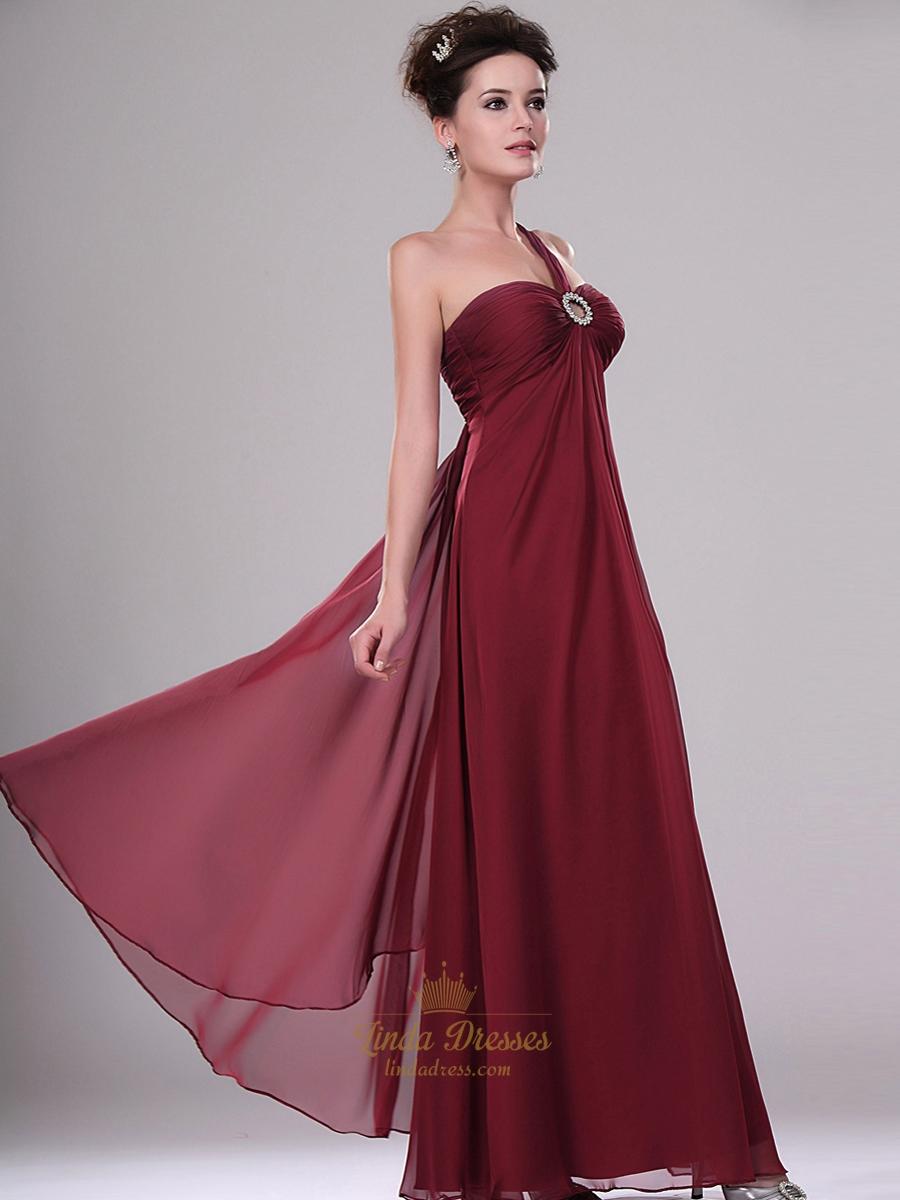 Burgundy One Shoulder Chiffon Bridesmaid Dresses With Beaded Detail | Linda Dress