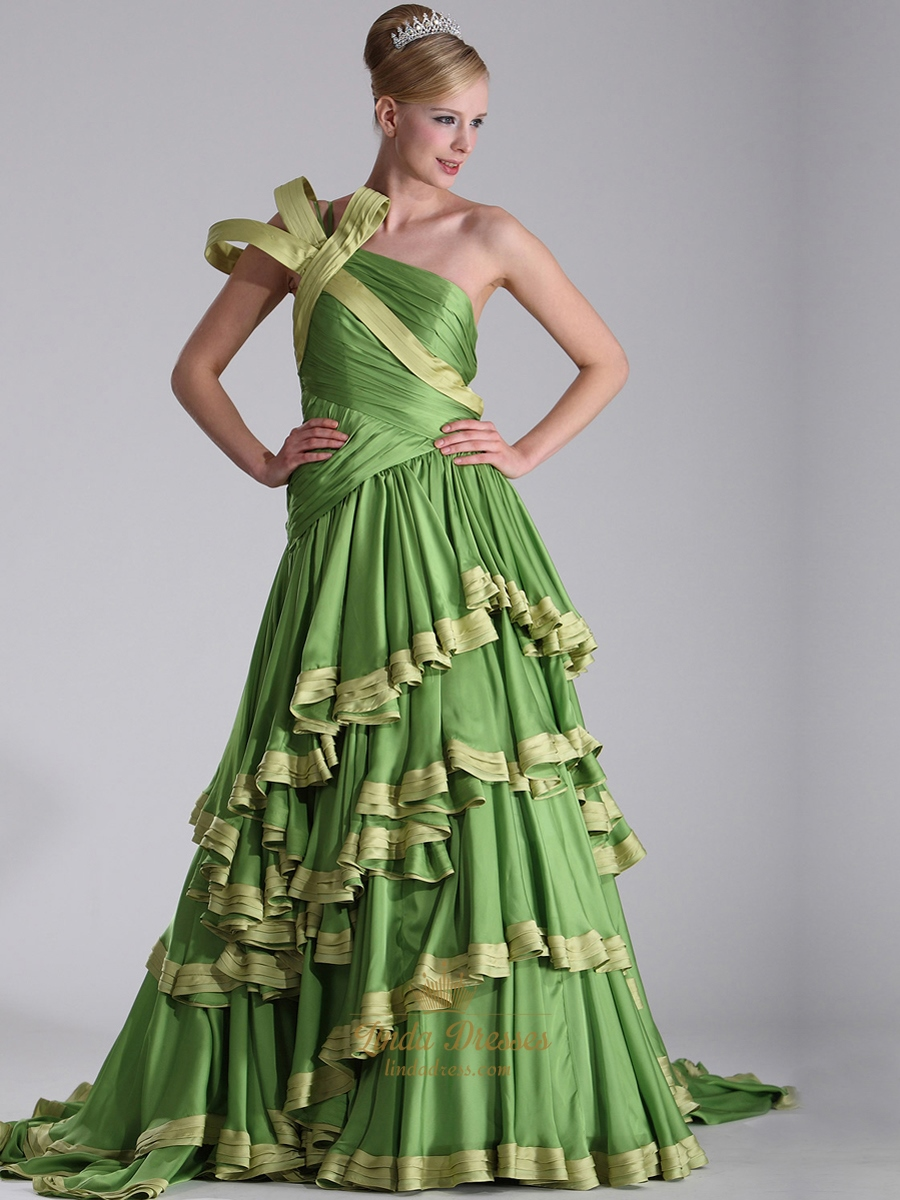 Apple Green One Shoulder Chiffon Prom Dresses With Layered