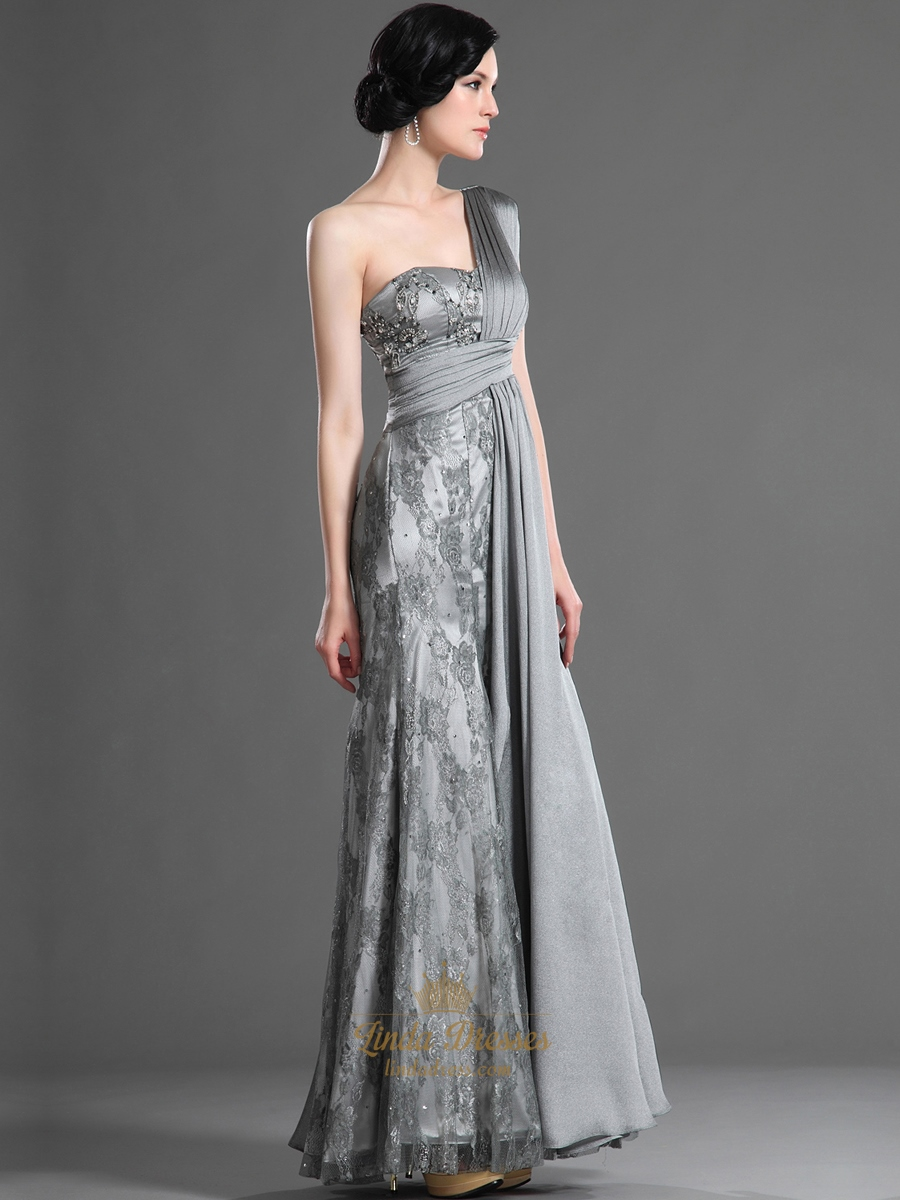 Elegant Grey And White Living Room: Elegant Grey Lace And Chiffon Column One Shoulder Prom