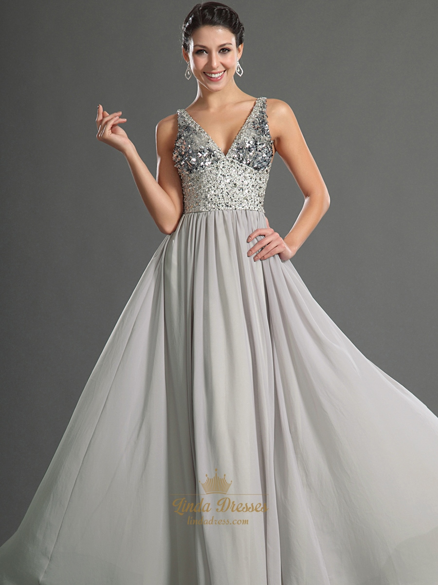 Grey V Neck Chiffon Prom Dresses With Sequin Bodice And Beaded