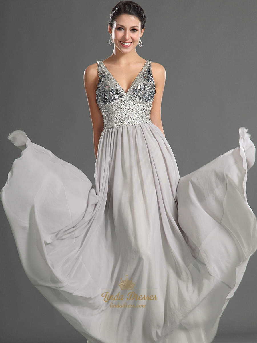 Grey V Neck Chiffon Prom Dresses With Sequin Bodice And