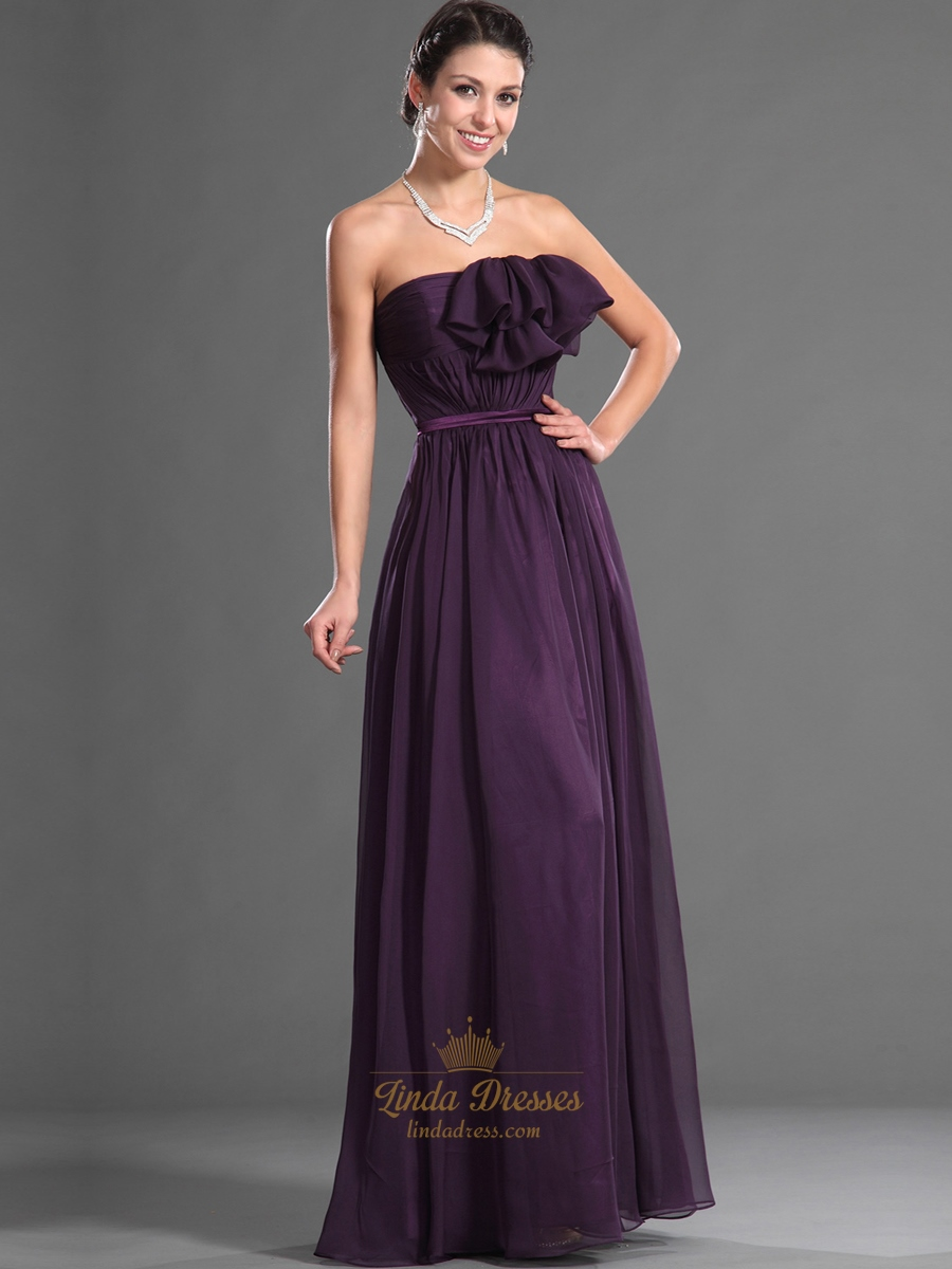 Grape strapless chiffon ruffled neckline long bridesmaid for Long strapless wedding dresses