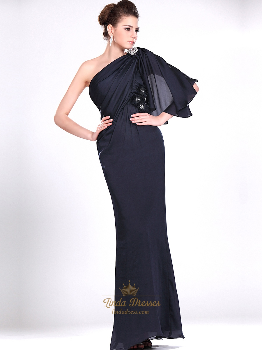 Navy Blue One Shoulder Chiffon Prom Dresses With Rhinestone Detail ...