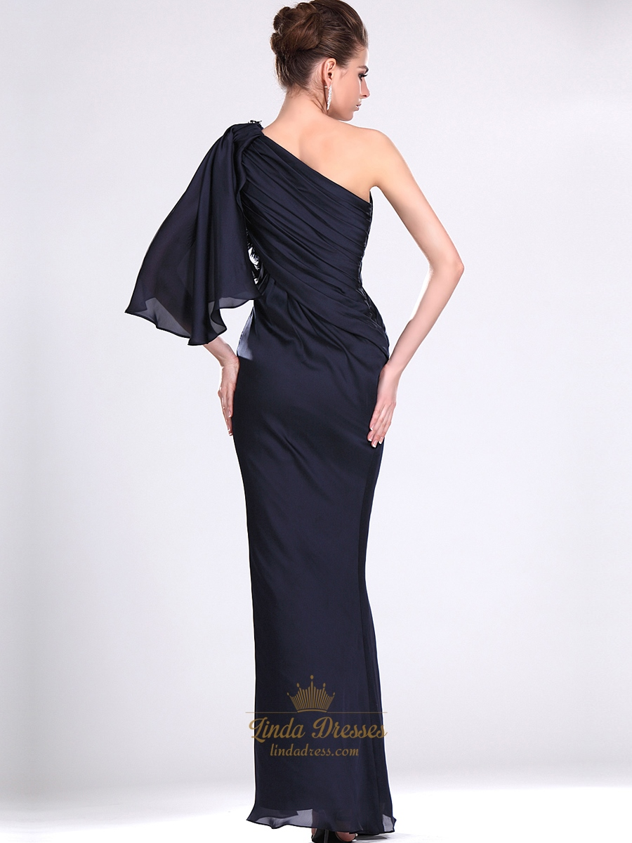 Navy Blue One Shoulder Chiffon Prom Dresses With ...