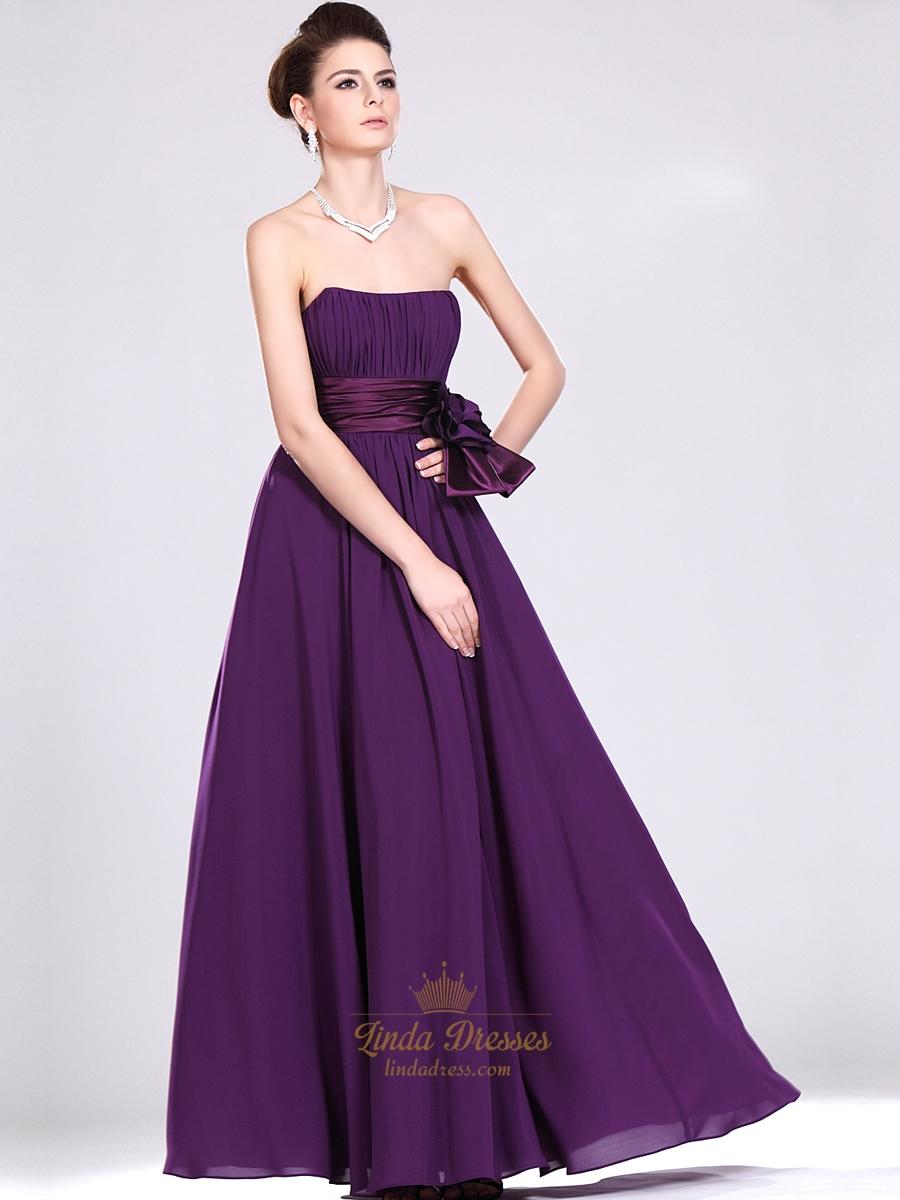 Purple Strapless Chiffon Full Length Bridesmaid Dresses With Flower ...