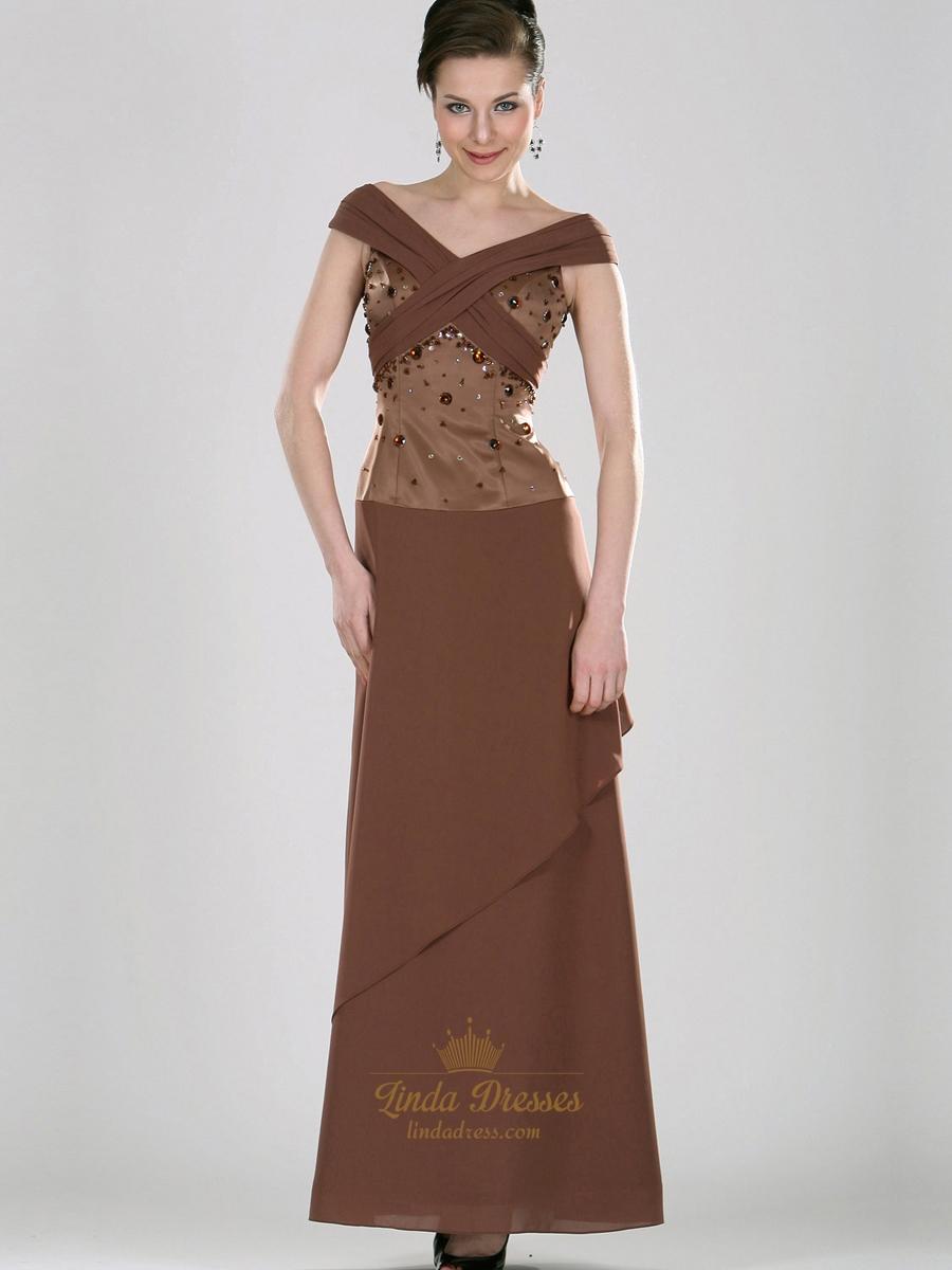 197ff7f6a73e Coffee Column Off The Shoulder Chiffon Prom Dress With Beaded Bodice SKU  -E282