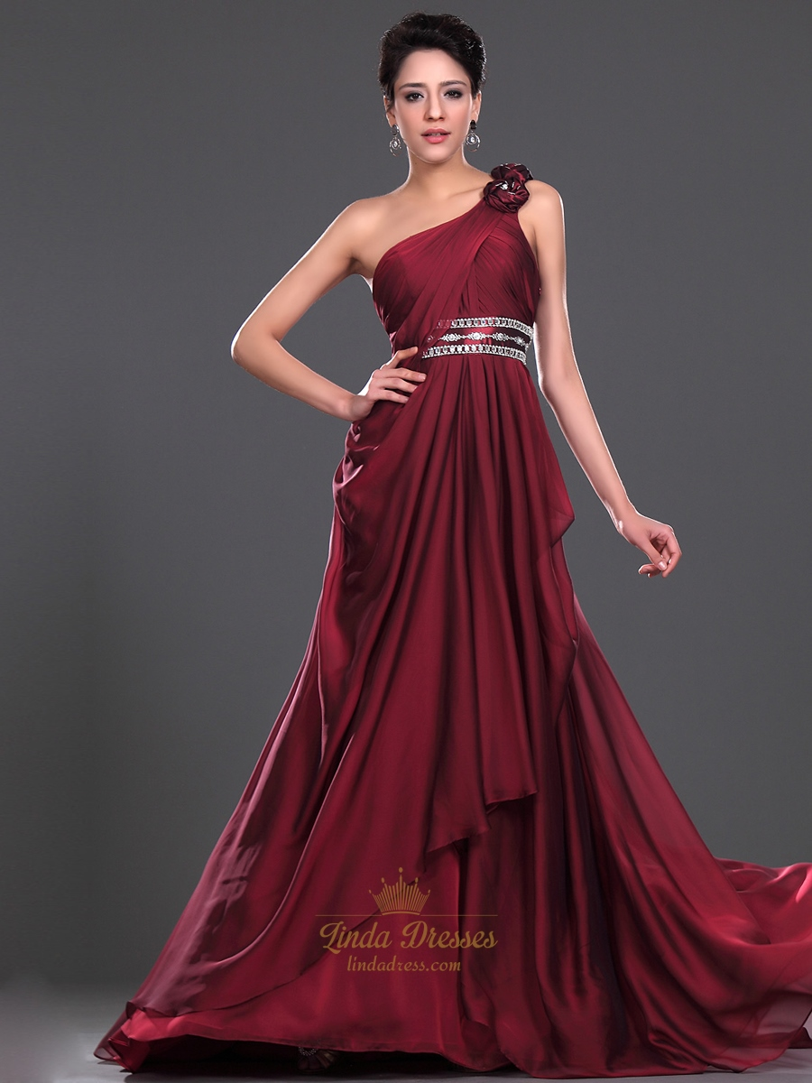 Burgundy One Shoulder Evening Dress