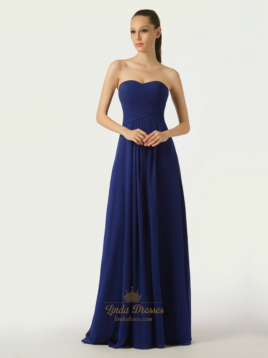 Royal Blue Sweetheart Strapless Bridesmaid Dresses With ...