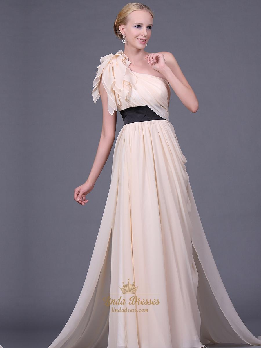 champagne chiffon one shoulder long bridesmaid dresses