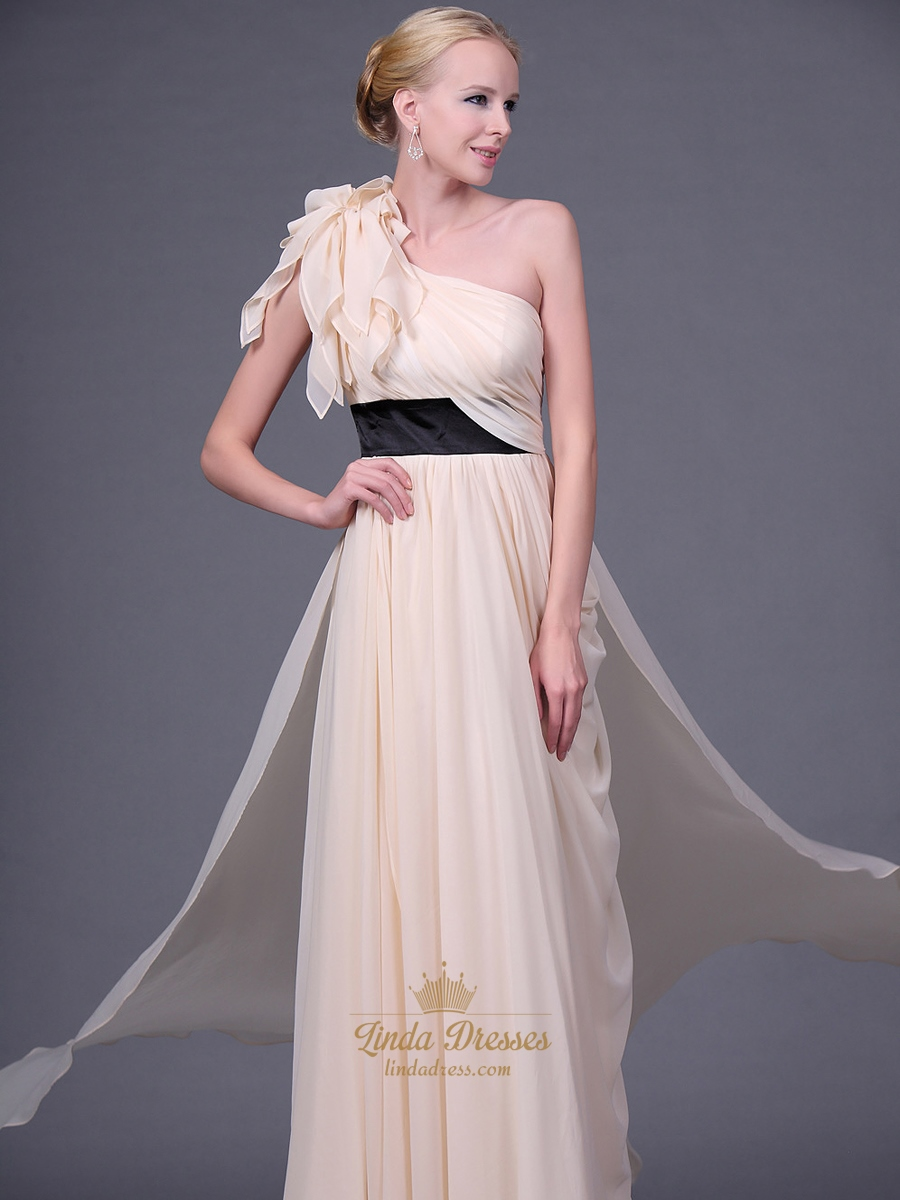 Champagne Chiffon One Shoulder Long Bridesmaid Dresses