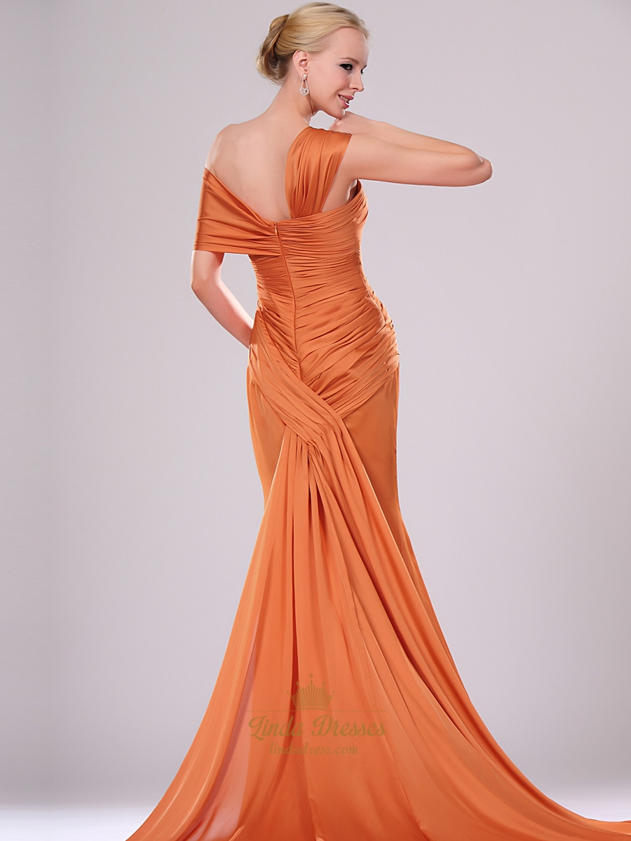 orange one shoulder mermaid chiffon prom dresses with