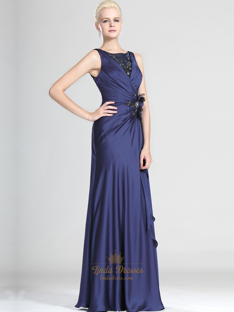 Navy Blue Sheath Floor Length Prom Dress With Lace And ...