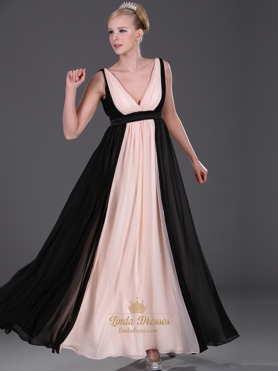 Pink And Black A Line V Neck Chiffon Floor Length Bridesmaid Dresses