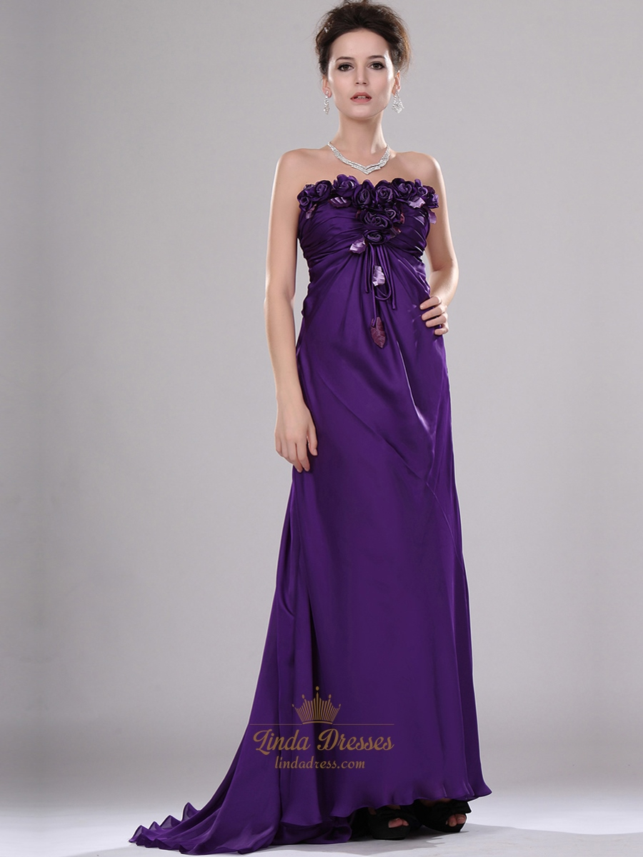 offer discounts wide range san francisco Purple Strapless Chiffon Empire A-Line Prom Dresses With Flower ...
