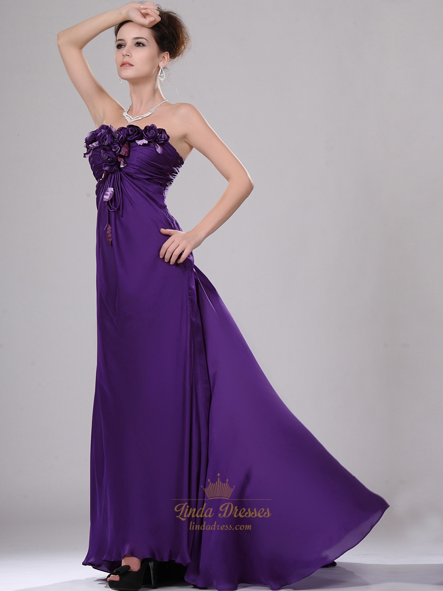 Purple Strapless Chiffon Empire A Line Prom Dresses With