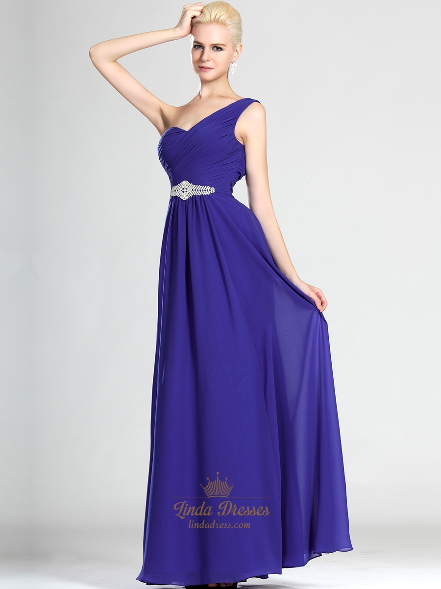 Royal blue chiffon one shoulder bridesmaid dress with for Wedding dress with blue detail