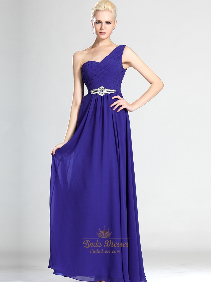 Royal Blue Chiffon One Shoulder Bridesmaid Dress With Beaded Detail ...
