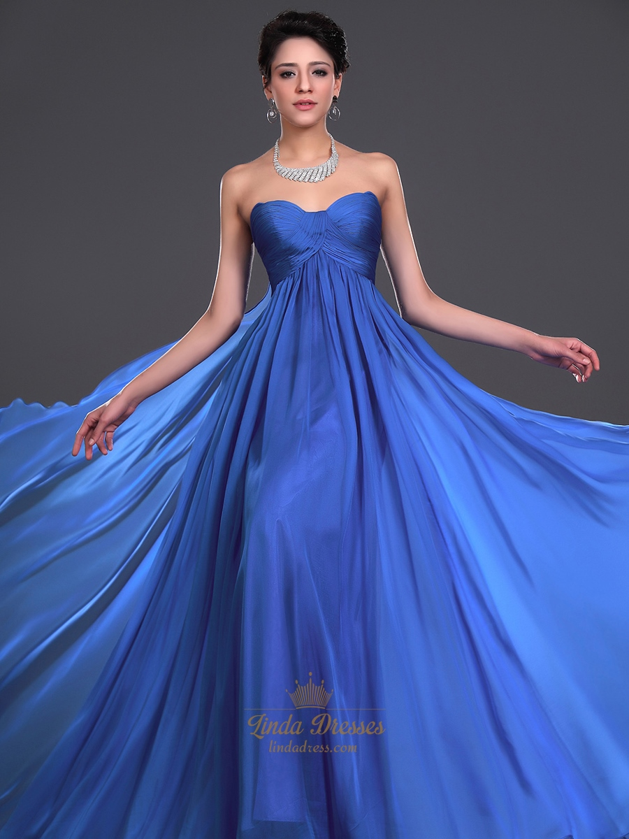Royal Blue Flowy Chiffon Sweetheart Bridesmaid Dress With