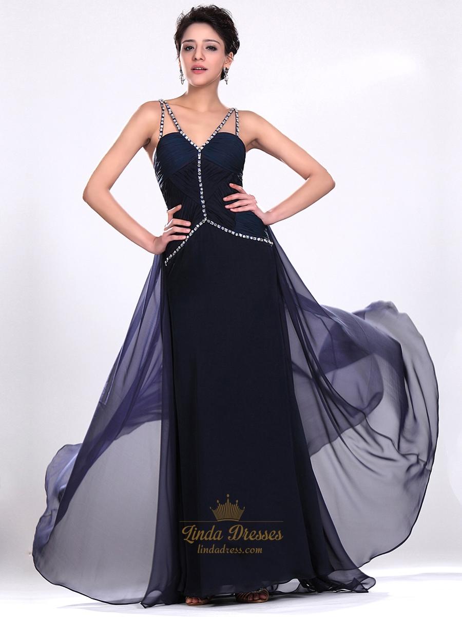 Navy Blue V Neck Spaghetti Strap Chiffon Prom Dress With ...