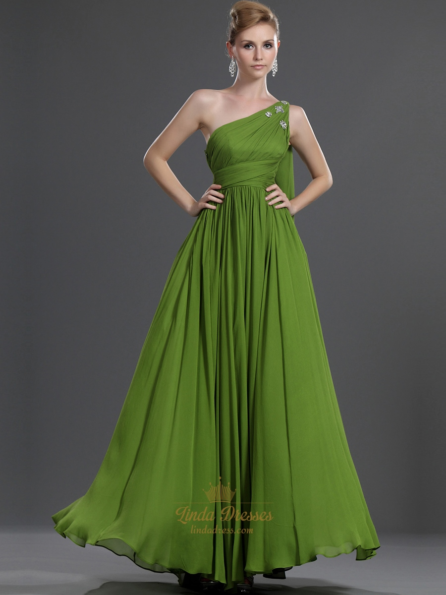 Apple Green One Shoulder Chiffon Bridesmaid Dress With Beaded Detail ...
