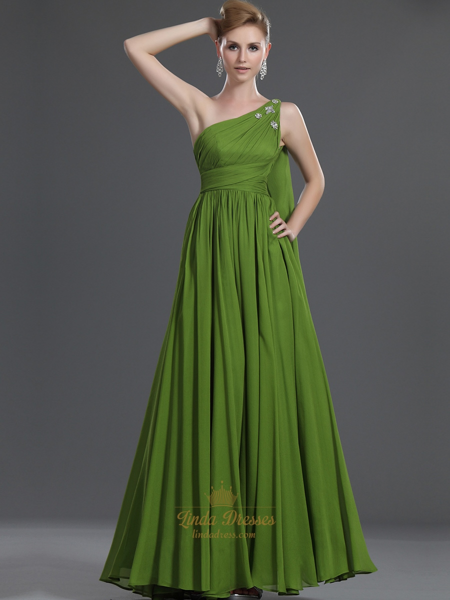 Apple green one shoulder chiffon bridesmaid dress with beaded apple green one shoulder chiffon bridesmaid dress with beaded detail ombrellifo Choice Image