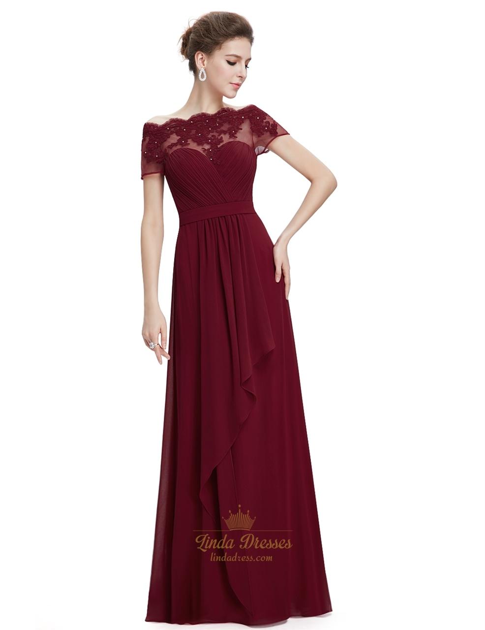 burgundy sweetheart chiffon lace overlay top formal dress. Black Bedroom Furniture Sets. Home Design Ideas