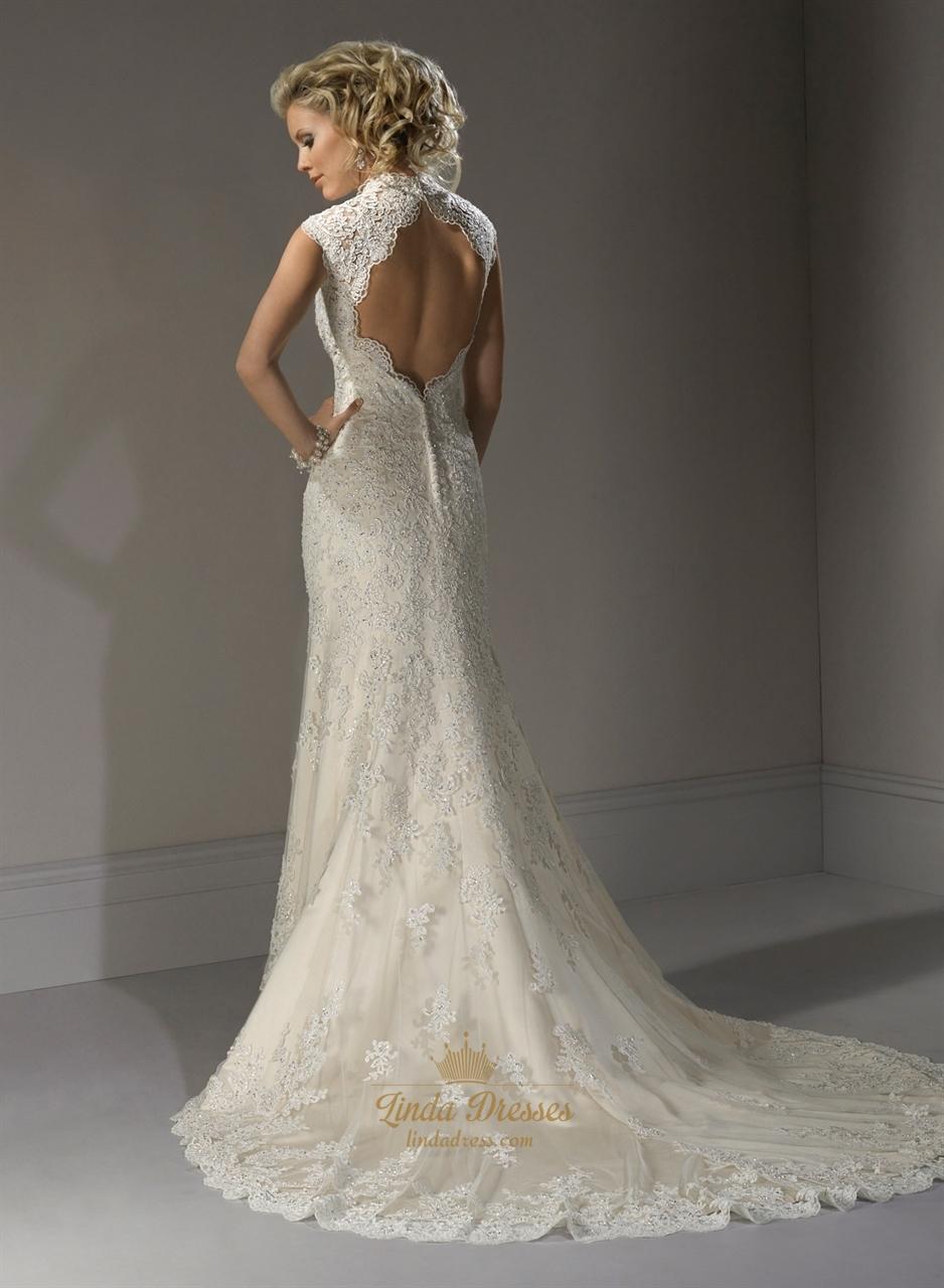 Vintage ivory lace wedding dress lace wedding dress with for Keyhole back wedding dresses