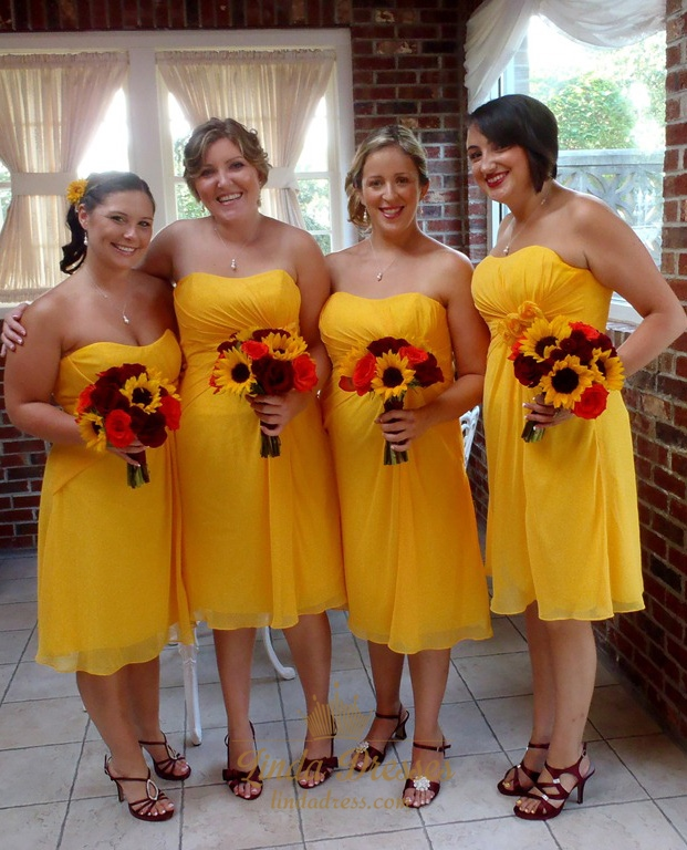 Canary Yellow Short Chiffon Strapless Empire Waist Bridesmaid Dress