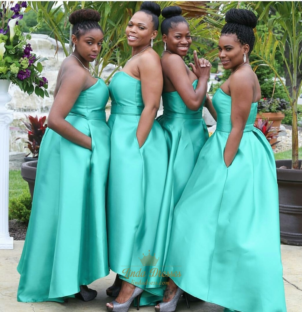 Wedding Gowns Bridesmaid Dresses: Teal Blue Strapless Sweetheart Floor Length Bridesmaid