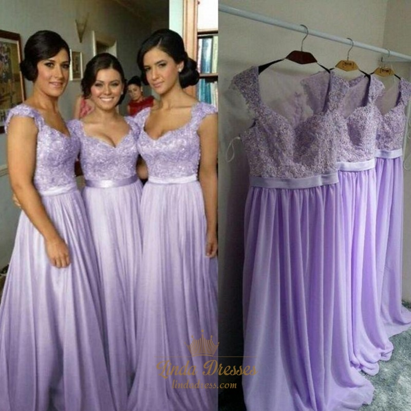 lavender lace bodice chiffon skirt bridesmaid dress with