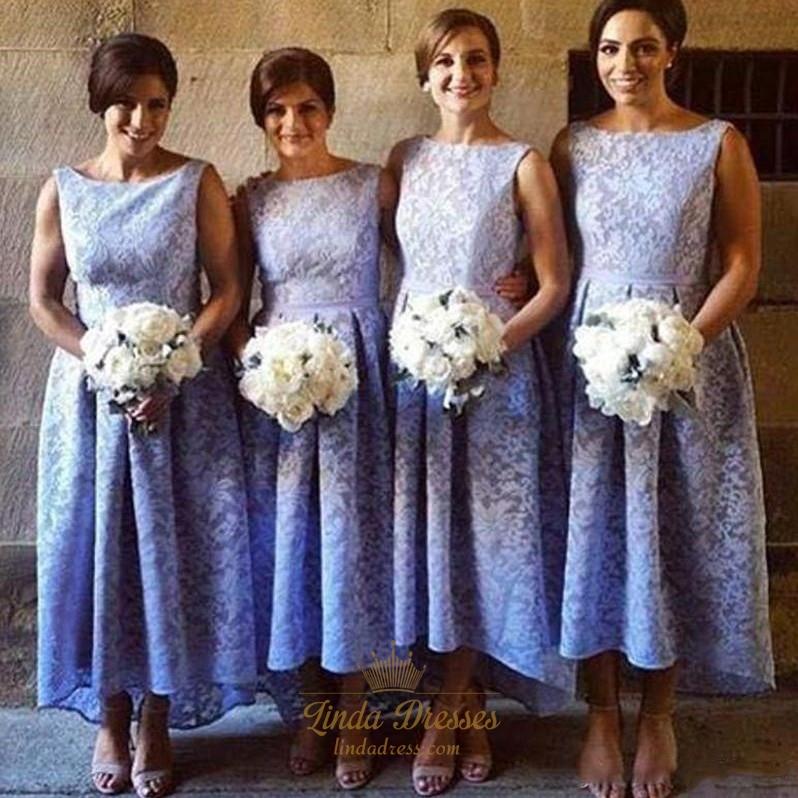 Lavender Lace Bateau Neckline Long A Line Bridesmaid Dress High Low