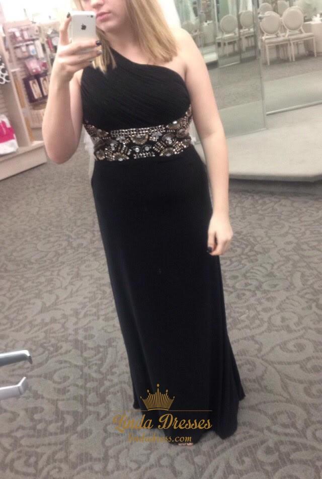 One Shoulder Black Floor Length Prom Dress With Beaded ... One Shoulder Black Prom Dress
