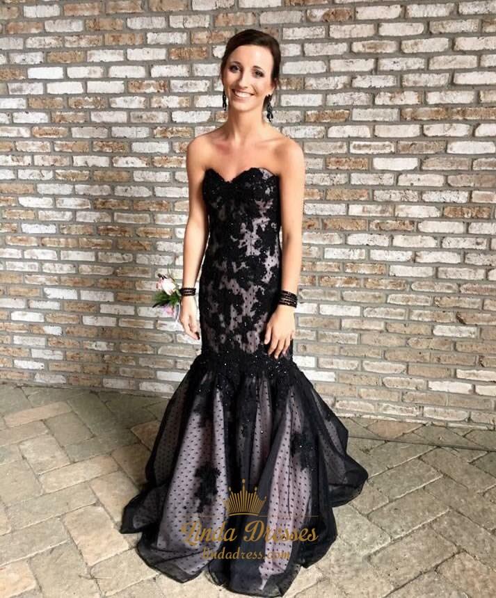 b178070bf606 Black Strapless Applique Embellished Floor Length Mermaid Formal Dress SKU  -LD0148