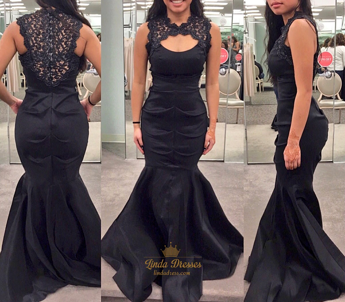 quinceanera hair styles black sleeveless satin mermaid prom gown with lace 2139