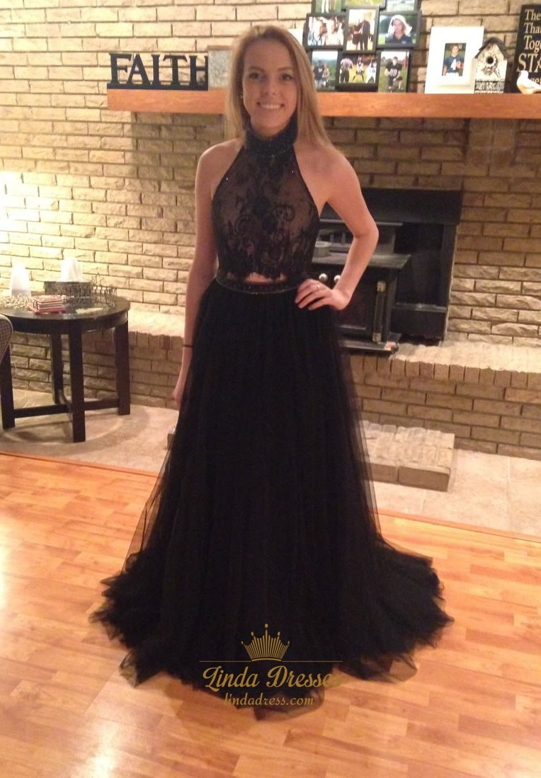 04d1383c91a0 Sleeveless Two Piece Black Lace Top Tulle Prom Dress With Open Back SKU  -LD0167