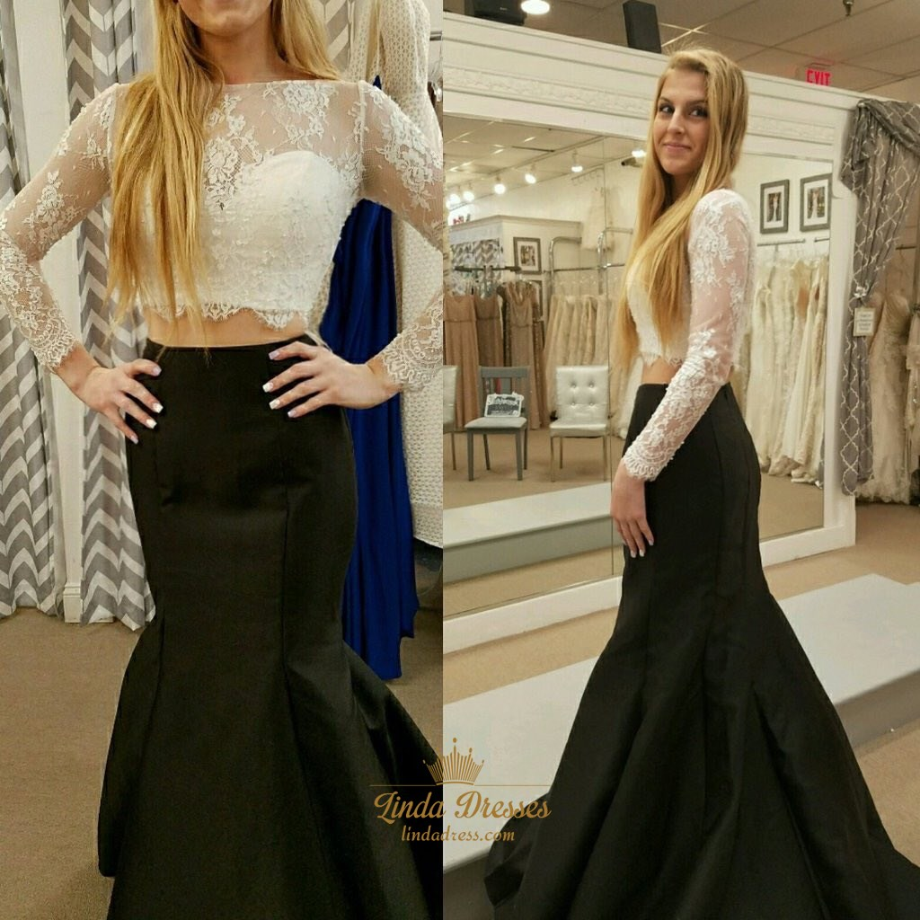 01c08095abf79 Elegant Two Piece Illusion Long Sleeve Lace Bodice Mermaid Prom Dress SKU  -LD0182