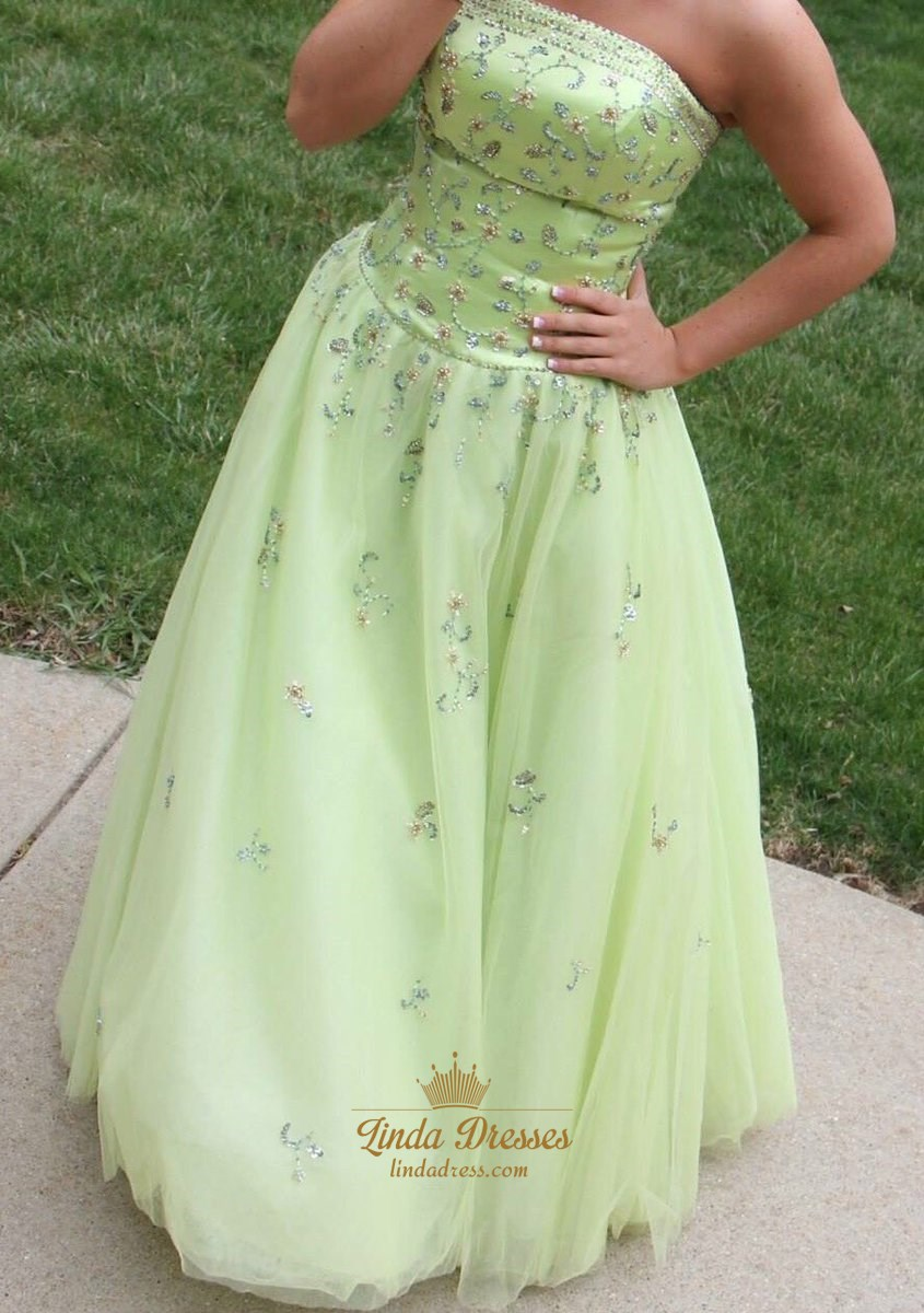 Light Green Strapless Floor Length Ball Gown With Beaded Embellished ...
