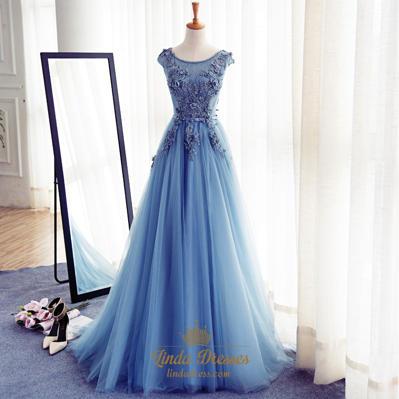 26f2f35e0a8 Sky Blue Cap Sleeve Floor Length Embellished Tulle A-Line Ball Gown SKU  -LD0213