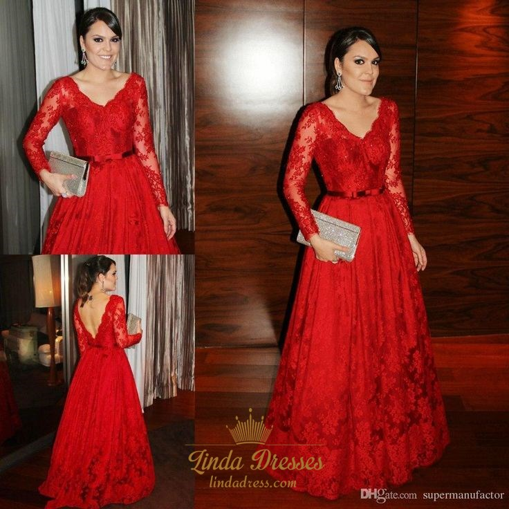 Elegant Red Long Sleeve Lace Floor Length Backless A-Line Ball Gown ...