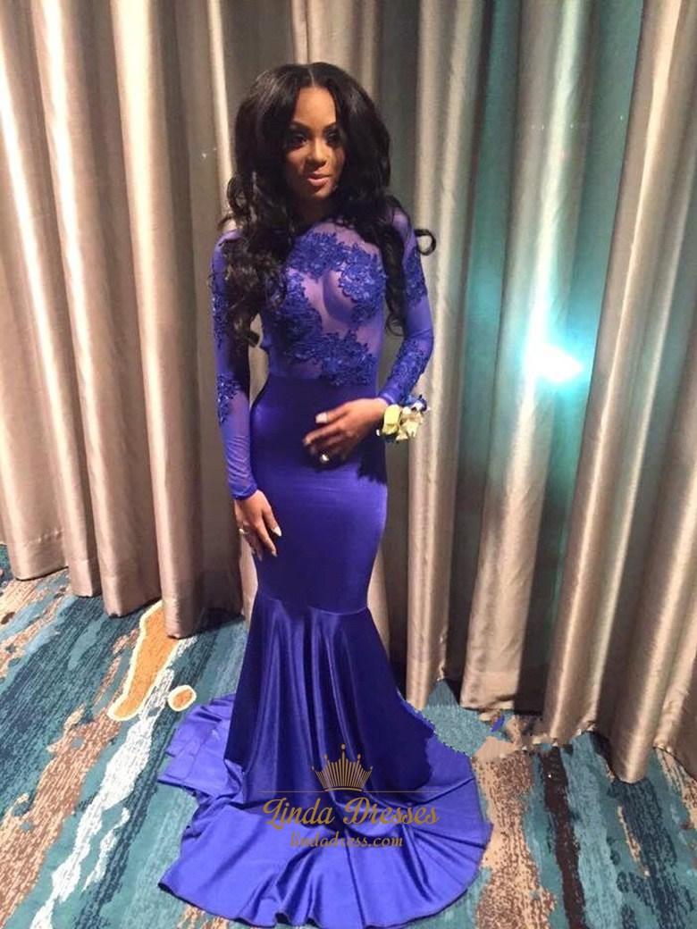 Royal Blue Long Sleeve Lace Embellished Open Back Mermaid