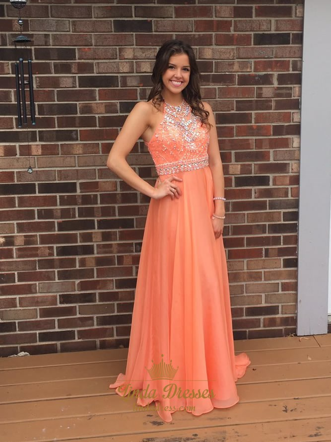 9b63863f65c6f Light Orange Sleeveless A-Line Floor Length Beaded Chiffon Prom Dress SKU  -LD0266