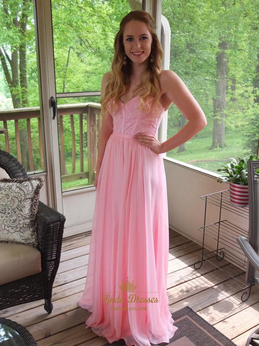 Baby Pink Strapless Sweetheart A Line Chiffon Prom Dress
