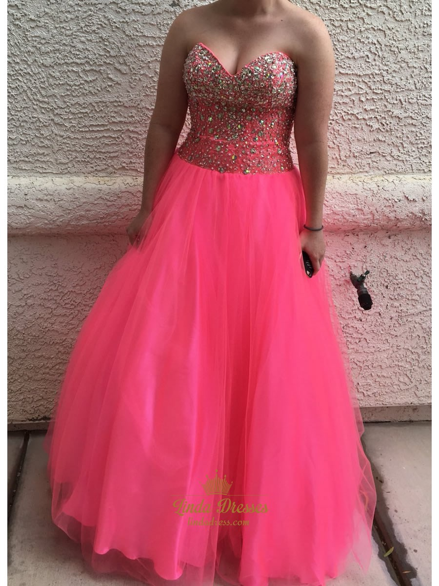 Hot Pink Strapless Sweetheart A-Line Tulle Ball Gown With Beaded Top ...