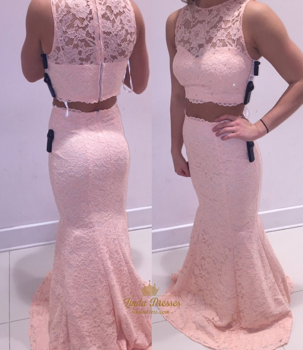 Light Pink Sleeveless Mermaid Floor Length Two Piece Lace Formal ...