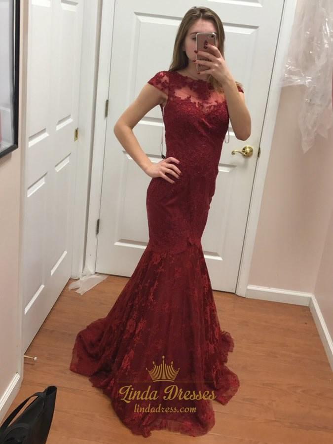 bc043b536 Burgundy Illusion Neckline Cap Sleeve Lace Overlay Mermaid Formal Gown SKU  -LD0347